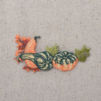 Pumpkins - Gourds - Leaves - Fall Harvest - Iron on Applique - Embroidered Patch - 693888A