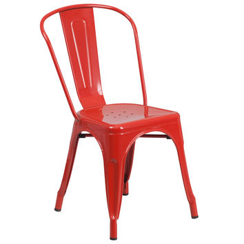 Flash Furniture Red Metal Indoor-Outdoor Stackable Chair [CH-31230-RED-GG]