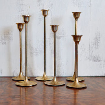 Vintage Brass Candlesticks, Graduated Tall Candle Holders, Set of Six