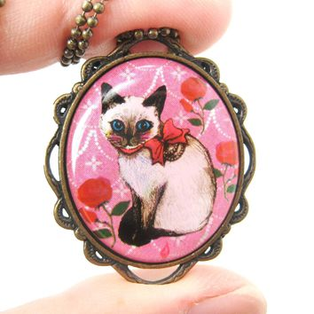 Fancy Siamese Kitty Cat Shaped Illustrated Oval Pendant Necklace in Pink with Bows and Roses