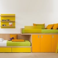 Wooden bunk bed with cabinet 7050 Compact Collection by dearkids