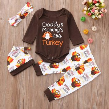 Infant Baby Boys Girls Letter Turkey Romper Pants Thanksgiving Day Outfits Set boys girls clothes kids clothing
