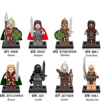 Building Blocks The Lord of the Rings figures Eowyn Eomer Theoden Uruk-Hais Wraith Archer Aragorn Mordor Orc Kids Toys Legoingly