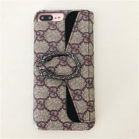 GUCCI Tide brand Bacchus iphone7plus personalized card holder phone case Black