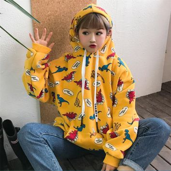 Women's Casual Sweatshirts Japanese Harajuku Ulzzang Bf Dinosaur Print Hoodie Female Korean Kawaii Cute Clothing For Women