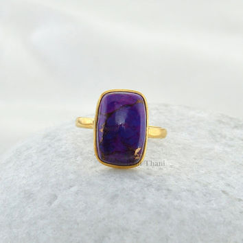 Copper Purple Turquoise Rectangle 10x15mm Micron Gold Plated 925 Sterling Silver Bezel Ring - #1100