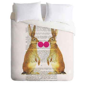 Coco de Paris Rabbits With Bubblegum 1 Duvet Cover
