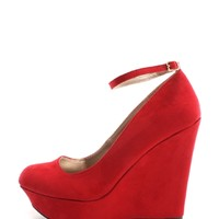 Red Ankle Strap Platform Suede Wedges | $10.99 | Cheap Trendy Wedges Chic Discount Fashion for Women