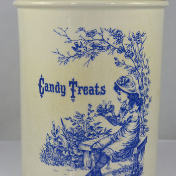 Adorable English Ironstone Candy Treats Jar Blue Print w/ Little Girl holding a Birds Nest Vintage Candy Jar