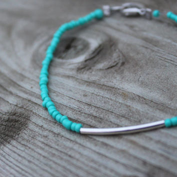 Boho Teal Stacking Bracelet with Silver Tube, Silver Clasp Close, Layering , Beach Bracelet, Summer Accessory, Teal Bracelet, Stacked
