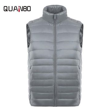 2017 fashion thin sleeveless 80% down jacket Gray young student Slim plus vest Stand collar short body of white duck down vest