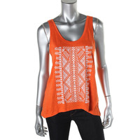 Rebecca Minkoff Womens Gia Linen Embroidered Tank Top