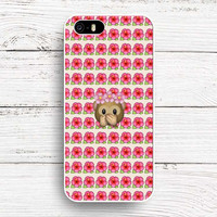 Pink Flower Emoji Collage Monkey Flower Crown Emoji Hard Cover Case Shell for iPhone 4 4S 5C SE 5 5s 6 6s 6 Plus 6s Plus