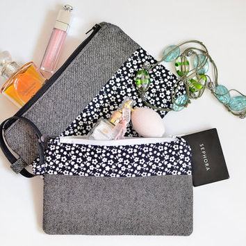 Cosmetics storage, Makeup pouches, Cosmetic bags, Purse organizer, Makeup bags, Neutral wristlet clutch, Pencil case, Fabric clutch