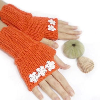 Free Shipping, Fingerless Gloves, Hand knit fingerless gloves, Daisy, Orange, Crochet Flowers, Boho knit glove mittens, Knit gloves mittens