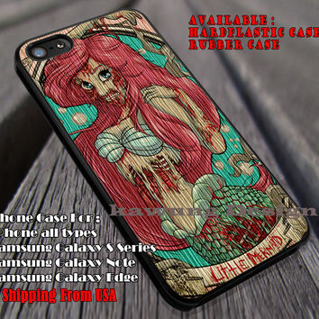 Mermaid Zombie Wood Craft | Wood Print | Ariel Mermaid | Disney Princess | case/cover for iPhone 4/4s/5/5c/6/6+/6s/6s+ Samsung Galaxy S4/S5/S6/Edge/Edge+ NOTE 3/4/5 #cartoon #disney #animated #theLittleMermaid ii