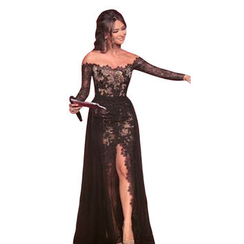 Womens Formal Lace Full Length Floor Gown Party Ball Dress  SN9