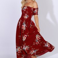 Off-The-Shoulder Floral Maxi Dress Burgundy