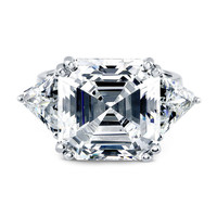 A Perfect 3.8CT Asscher Cut Russian Lab Diamond Engagement Ring