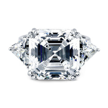 A Perfect 5CT Asscher Cut Russian Lab Diamond Engagement Ring