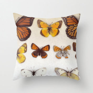 Pillow Cover, Photo Pillow, Butterflies, Home Decor, Yellow Orange,  Living Room, Bedroom, 16x16, 18x18