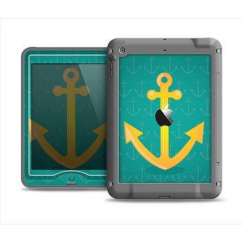The Gold Stretched Anchor with Green Background Apple iPad Mini LifeProof Nuud Case Skin Set