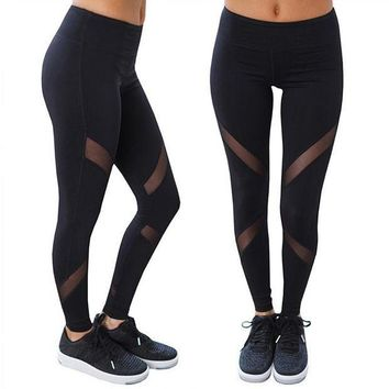 PEAPON Women Leggings Women Mesh Splice Fitness Slim Black Legging Sportswear Leggins
