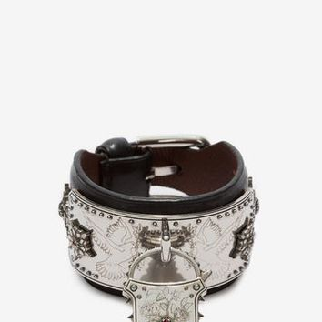 Leather Padlock Cuff | Alexander McQueen