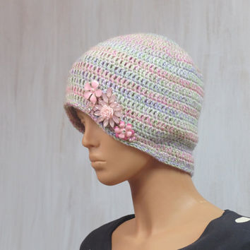 Woman Girl Hat Flowers Beanie Winter Spring Hat For her Pastel Beanie Metal Flowers Pink Romantic Hat Boho Vintage Glamour OOAK
