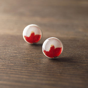 SALE - Poppy stud earrings - spring - red white earrings - summer - flower earrings
