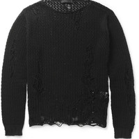Alexander McQueen - Distressed Open-Knit Cotton Sweater | MR PORTER