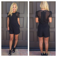 Sheer And There Romper With Pockets - BLACK