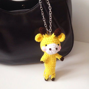Amigurumi Giraffe Crochet Giraffe Crochet Chapstick Lipstick Case Crochet Bag Charm Key Chain Kawaii Girls Stuff Party Favor Gifts for Her