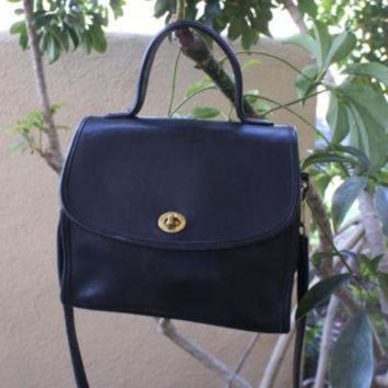 Vintage Black Leather Coach Satchel Bag With Handle And Crossbody Strap Coach Manor B - Beauty Ticks