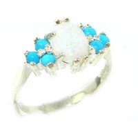 Ladies Contemporary Solid Sterling Silver Natural Opal & Turquoise Ring - Size 12 - Finger Sizes 5 to 12 Available