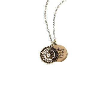 Elements Air Virtue Sterling Silver Bronze Double Disc Necklace