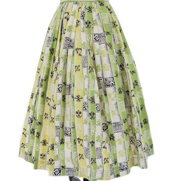40s Aztec Novelty Print Full Skirt