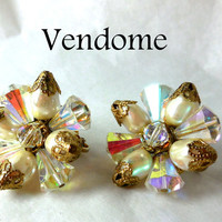 VENDOME Earrings Crystal Pearl Gold clips Stars Designer 60s Statement High Fashion Bride Costume Fashion Mom LBD SALE
