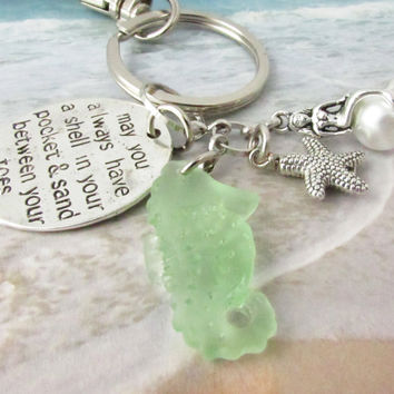 Seahorse Keychain with Beach Charms