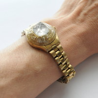 Apophyllite Tip Gold Tone Watch