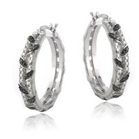 Black Diamond Accent Weave Hoop Earrings