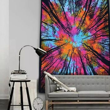 #8 Colorful Forest Tapestry Bedspread Wall Art Beach Towel Yoga Mat