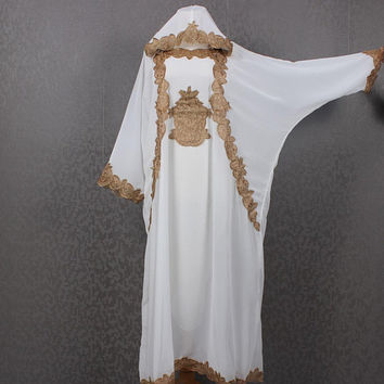 Ethnic Kaftan Gold Embroidery, White Womens Handmade Caftan, Gold Embroidery White Chiffon Kaftan Maxi Dress, Hooded Caftan Dress