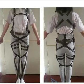 Cool Attack on Titan  Japanese Anime No  Recon Corps Harness Belts Hookshot Cosplay Costume Adjustable Belts AT_90_11