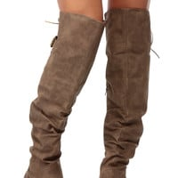 Taupe Faux Nubuck Over the Knee Biker Boots