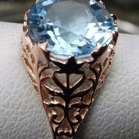 Natural blue topaz victorian filigree ring size 6