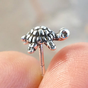 Tiny Silver Turtle Cartilage Earring or Tragus Piercing