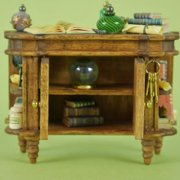 Witches Potion Cupboard - 1:12 or 1/12 Scale Dollhouse Miniature, Rustic Furniture, for Making Spells, Witches or Wizards Cottage or Scene