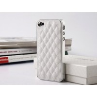 Quilt Pattern Leather Hard Case Cover for iPhone 4 4S - White + Free Anti-Scratch Screen Protector