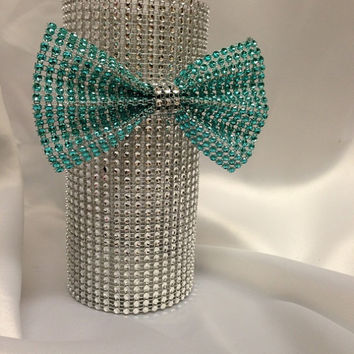 Bling Rhinestone Trimmed Vase with Bling Bow - 7'' Vase- Any Color Combo